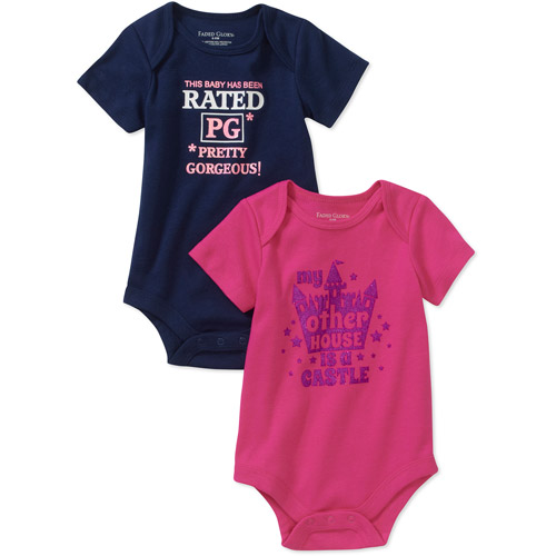 Faded Glory Newborn Girl Attitude Bodysuits, 2-Pack