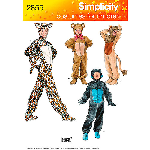 Simplicity Pattern Child's Gorilla/Lion/Bear/Cat Costume, (XS, S, M, L)
