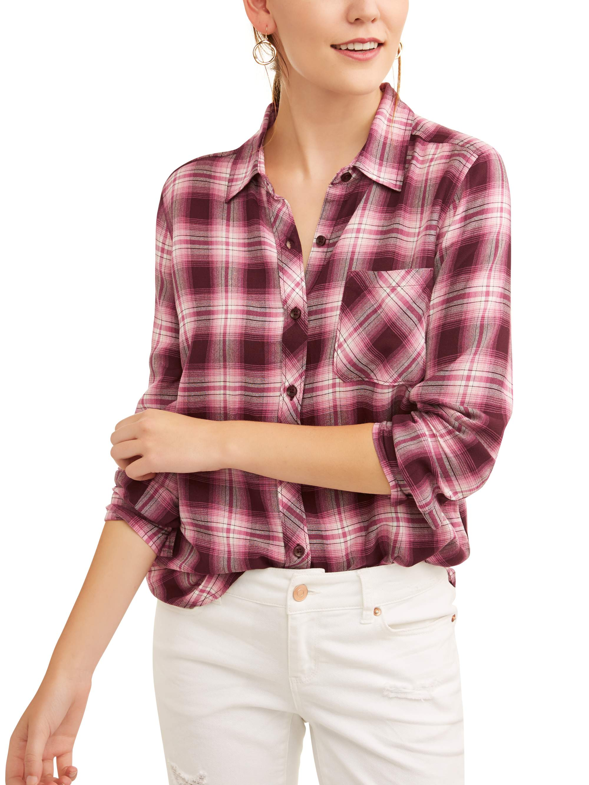 576458805e9 Time and Tru - Women s Woven Plaid Shirt - Walmart.com