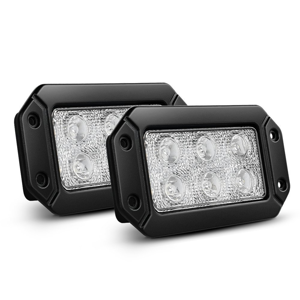 Nilight Led Light Bar 2PCS 18W Spot Flush Mount LED Work Light Driving Lights Off Road Led Lights for Jeep Truck Tacoma Bumper ATV UTV,2 Years Warranty