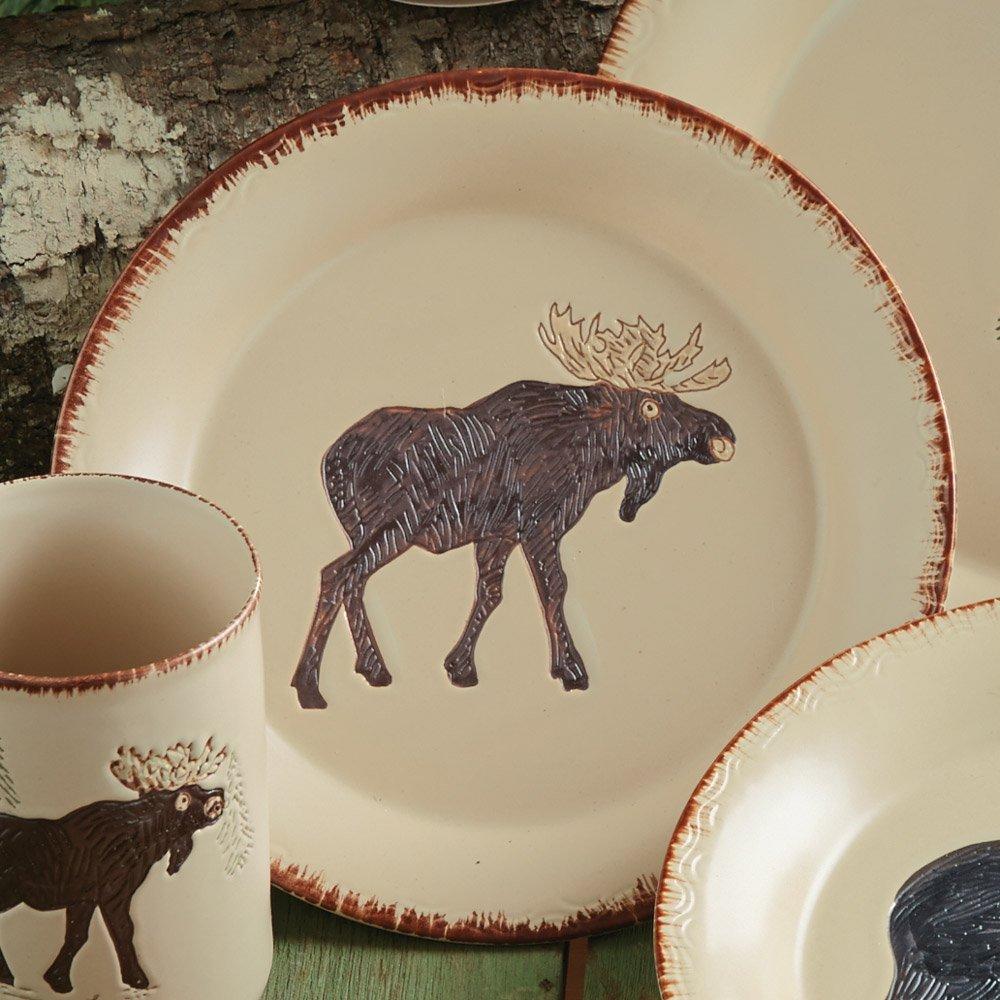 Bear u0026 Moose Stoneware Moose Rustic Dinnerware Salad Plate - Lodge Kitchen Decor & Bear u0026 Moose Stoneware Moose Rustic Dinnerware Salad Plate - Lodge ...