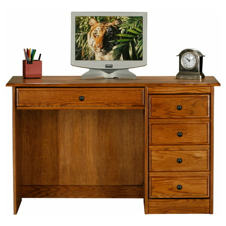 Classic Oak Customizable Single Pedestal Computer Desk