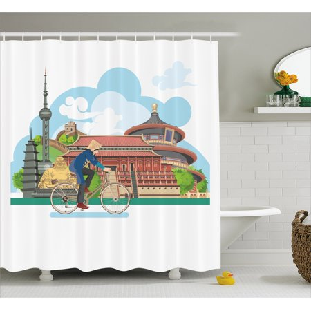 Ancient China Shower Curtain, Chinese Elements Traditional ...