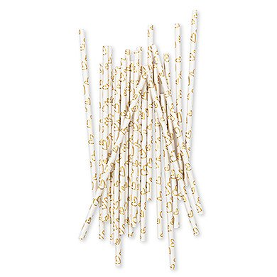Gold Foil Hearts Paper Drinking Straws ()