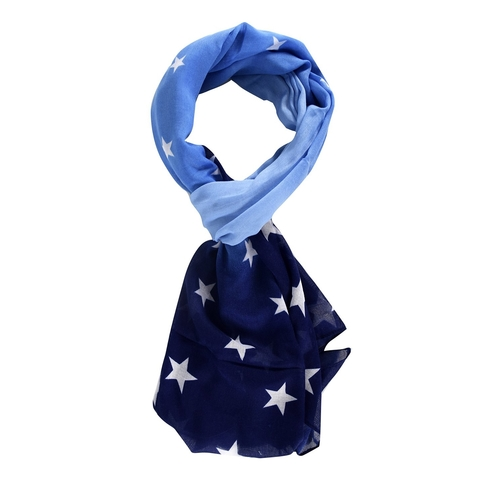 Peach Couture Patriotic Star Light Weight Sheer Scarf Navy White