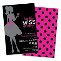 Personalized Kiss The Miss Goodbye Bachelorette Party Invitations