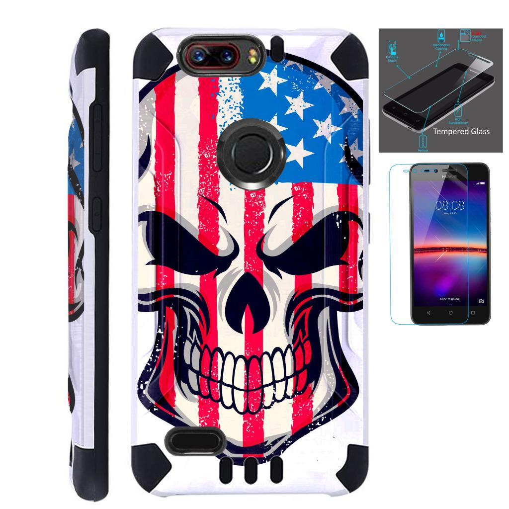 For ZTE Blade Z Max (Metro PCS) / ZTE ZMax Pro 2 / ZTE Grand X Max 4 / ZTE Sequoia Case + Tempered Glass Slim Dual Layer Brushed Texture Hybrid TPU KomBatGuard Phone Cover (US Flag Skull)