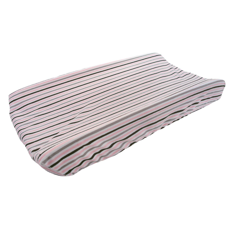 My Blankee Mini Stripe Minky Changing Pad Cover, Blush/Si...