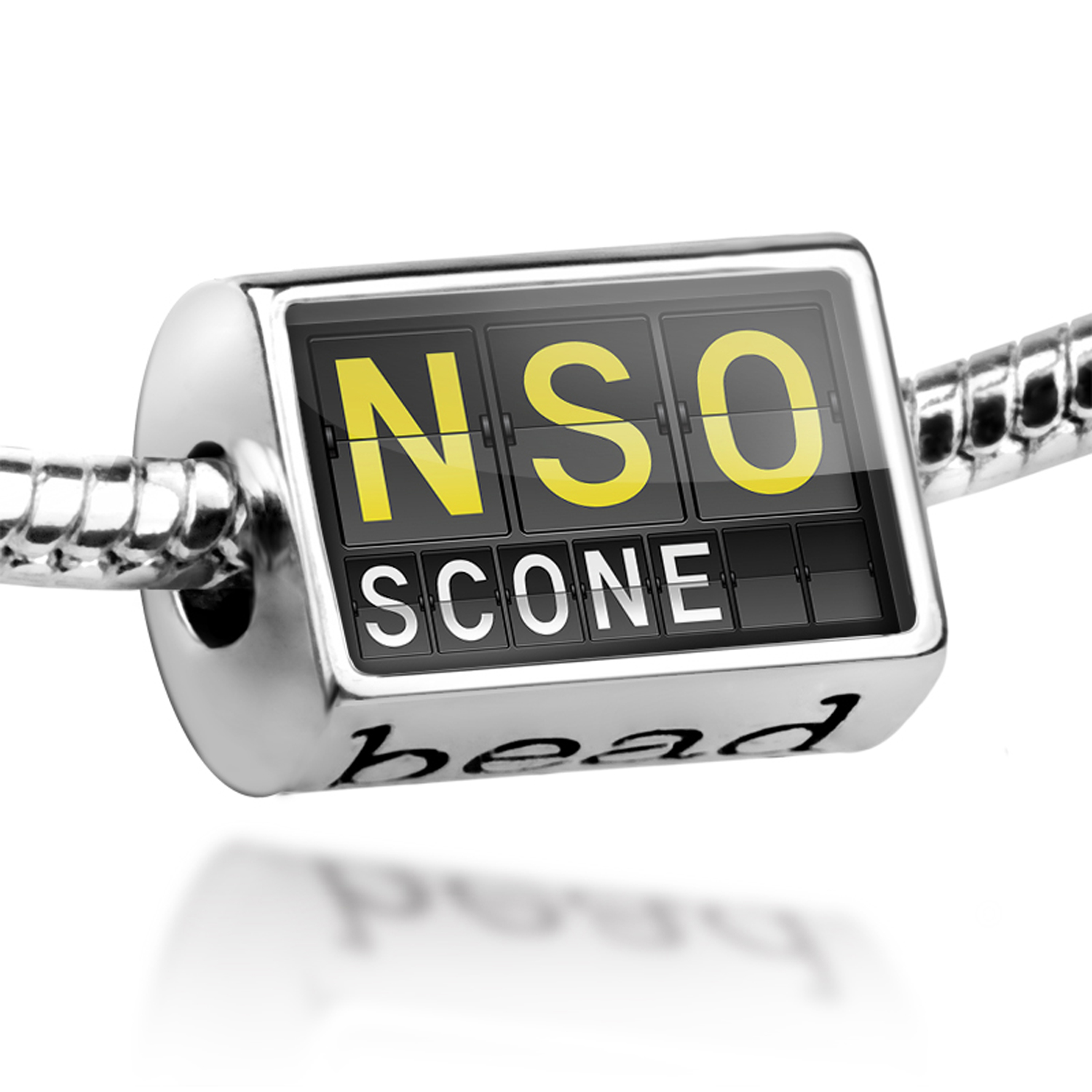 Bead NSO Airport Code for Scone Charm Fits All European Bracelets by NEONBLOND