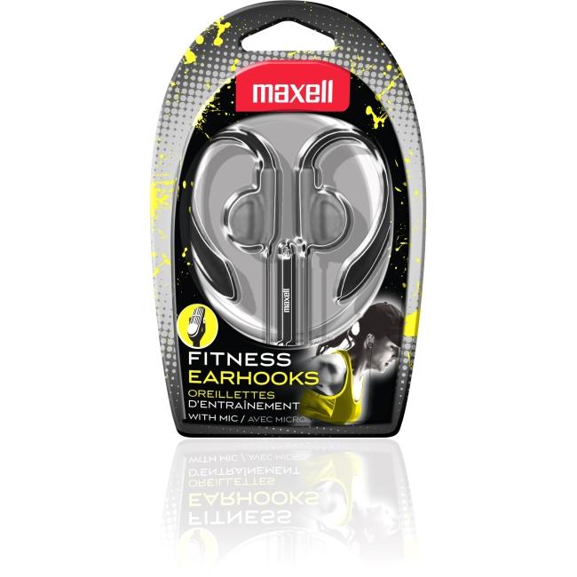 Maxell EH-131S Fitness Earhook Headphones w/ Mic - Silver