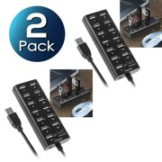 2 Pack Insten 13-Port USB 2.0 Hub with On Off Power Switch Multiple Usb Port Adapter