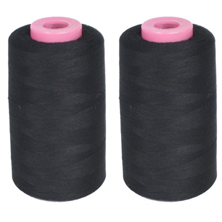2 Big Spools Sewing Thread Polyester Black 1500 Yards Each Upholstery Crafts New