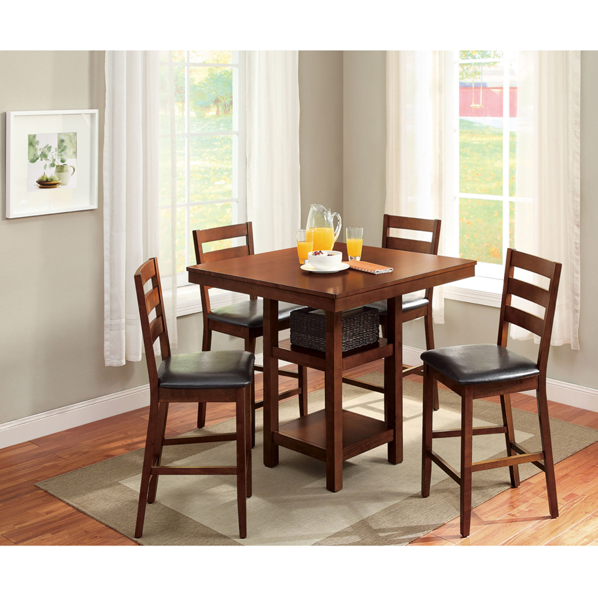 Costway 3 PC Pub Dining Set Table Chairs Counter Height Home Breakfast  W/Storage Shelves   Walmart.com