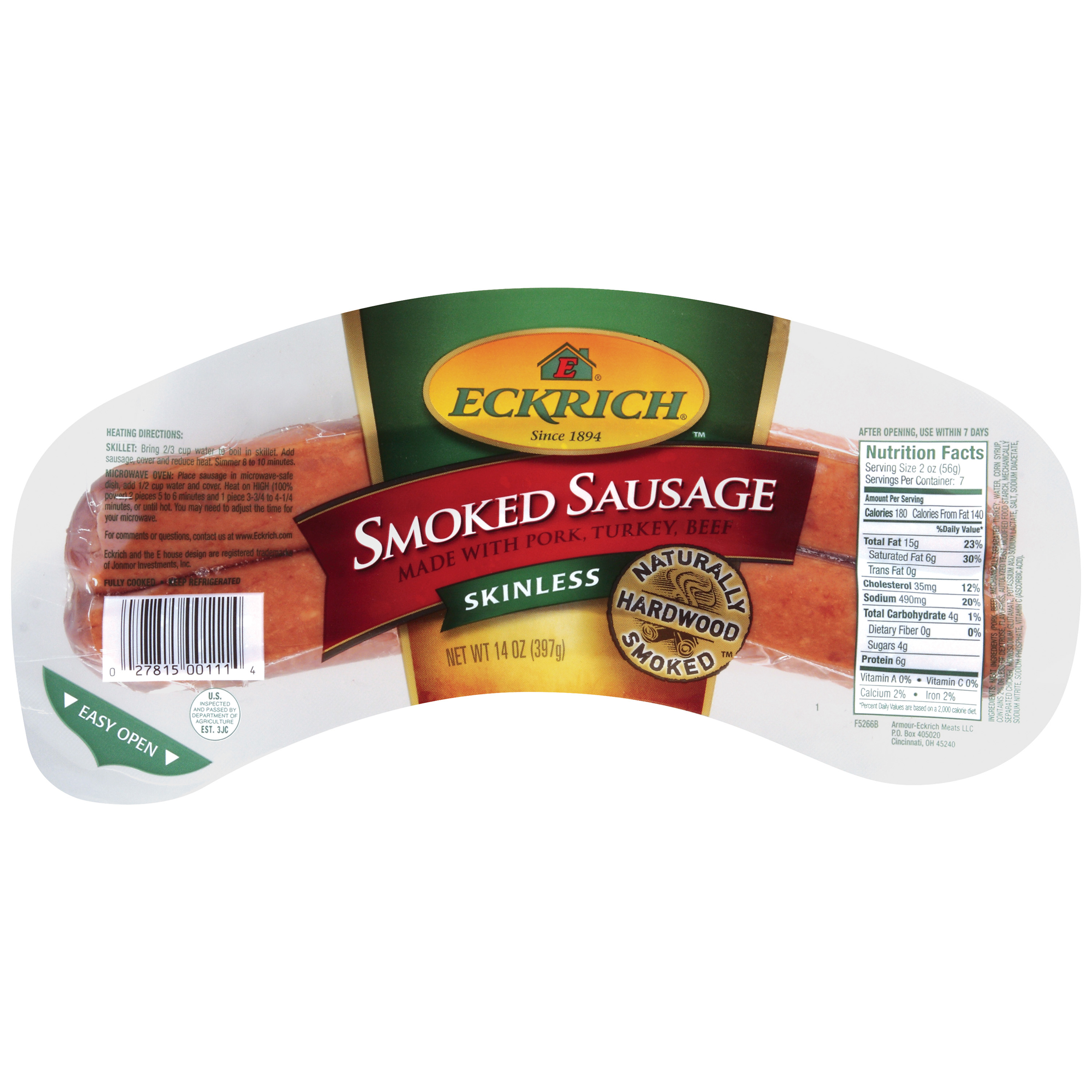 Eckrich Skinless Smoked Sausage 14 oz. by Armour-Eckrich Meats LLC