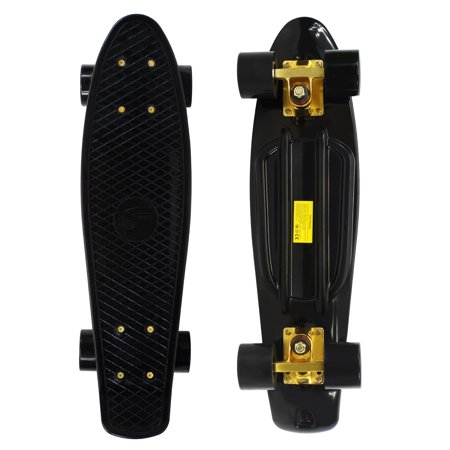 Complete 22 inch Skateboard Plastic Mini Retro Style Cruiser, Black Gold