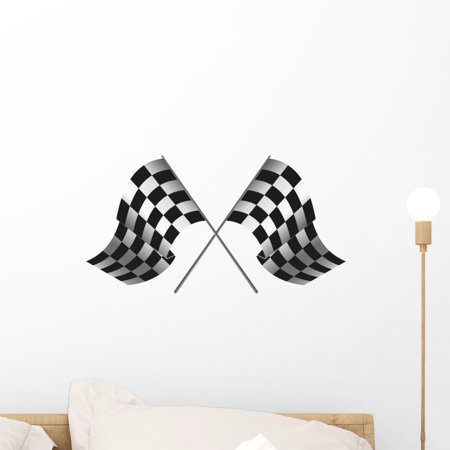 Checkered Flag Racing Wall Mural Decal Sticker, Wallmonkeys Peel & Stick Vinyl Graphic (18 in W x 11 in H)