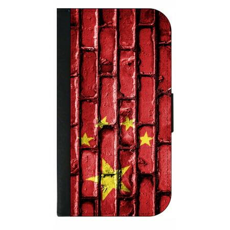 China Flag in Brick Wall Print - Wallet Phone Case for the iPhone XS Max - 10 XS Max iPhone Wallet Case - iPhone XS Max Wallet Case ()