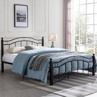 Cole Contemporary Iron Queen Bed Frame, Flat Black