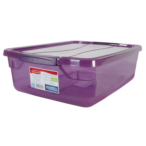 Rubbermaid 17 Qt Clever Store Container, Purple