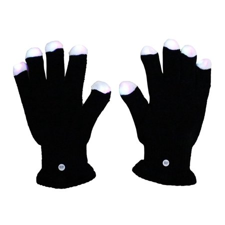 Raver Gloves (BLACK Rave Gloves - Raver Hands LED Light Show Pair of Gloves, 3 colors in each fingertip (red, green, and blue) By)