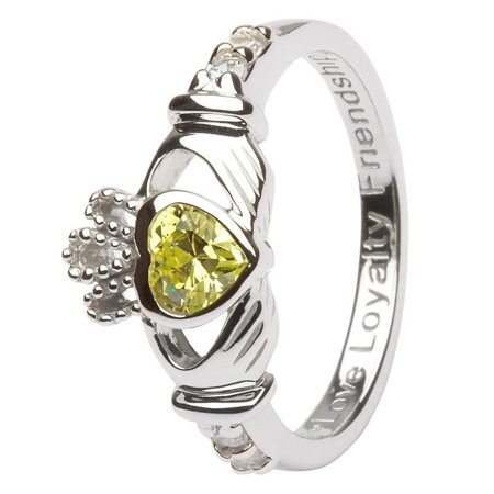 ShanOre Women's Sterling Silver Celtic Claddagh Peridot CZ August Birthstone Irish Ring
