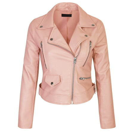 KOGMO Womens Double Breasted Faux Leather Zip Up  Jacket Womens Leather Mesh Jacket