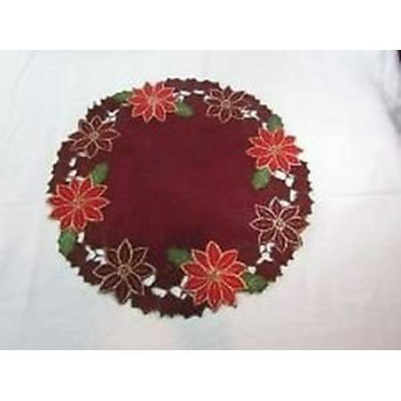 "Poinsettia Wreath 16"" Round Placemat"
