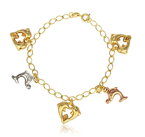 Two Year Warranty Gold Overlay Dolphin Heart Charms 7 Inch Cable Bracelet