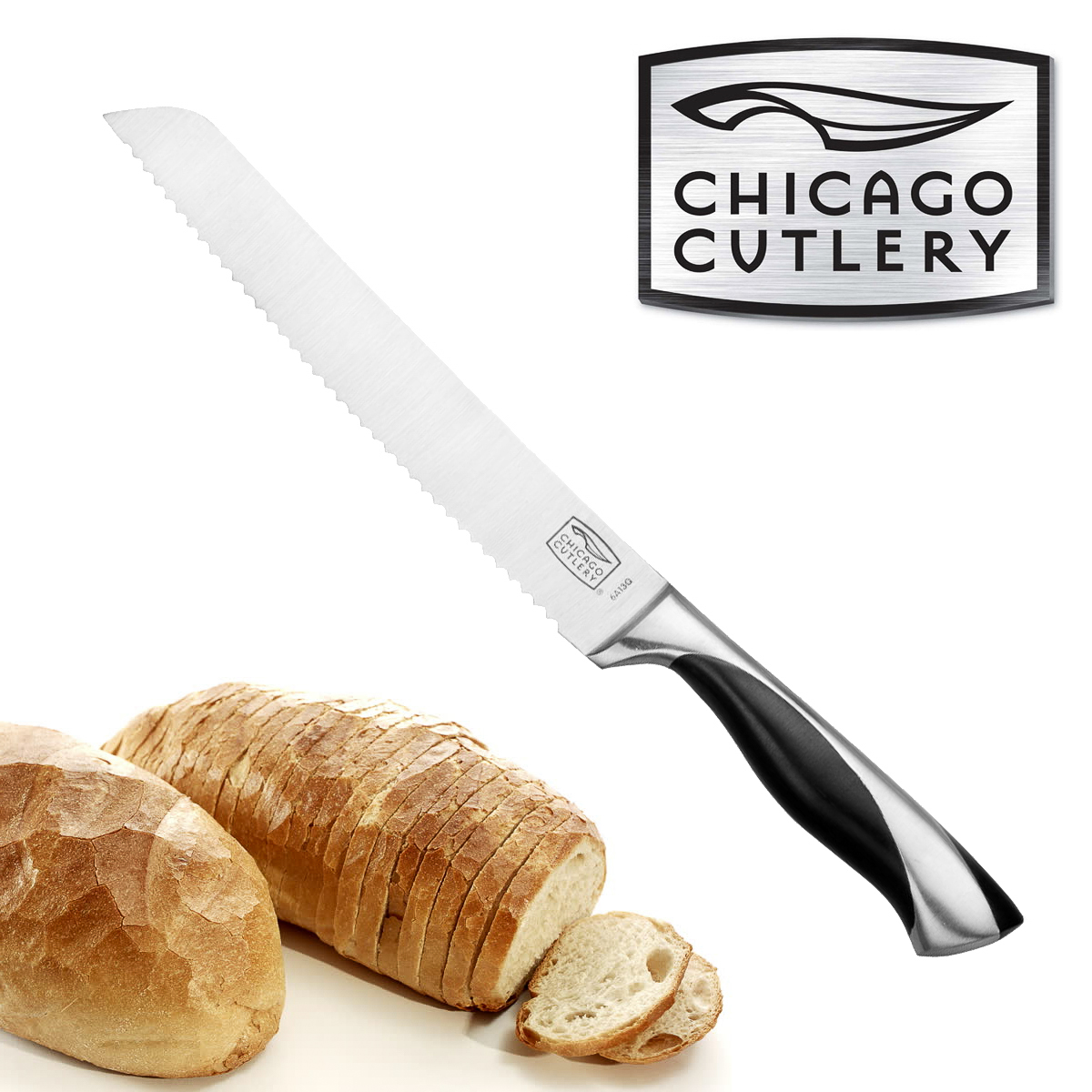 "Chicago Cutlery 8"" Bread Knife Stainless Steel Serrated Polymer Handle Holster"