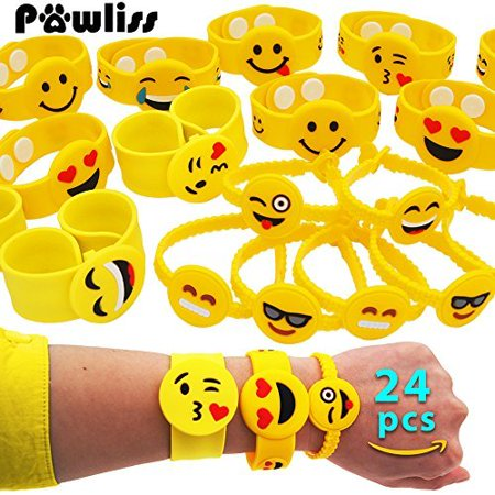 Pawliss Emoji Bracelets Wristband Birthday Party Favors Supplies For Kids Girls Emoticon Toys Prizes Gifts Rubber Band Bracelet Silicone Writbands 24