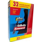Gillette Sensor 2 Disposable Razors, 32 Pack, Fixed Head, Lubrastrip