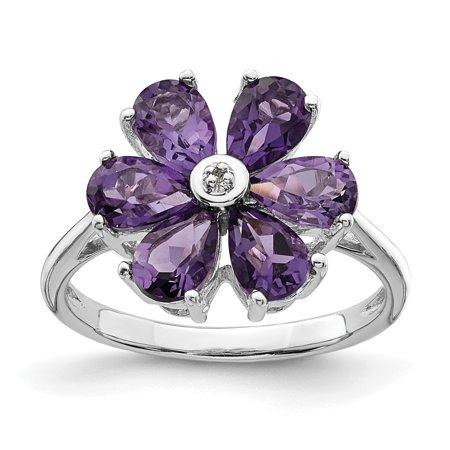 a8c951545dd 925 Sterling Silver Purple Amethyst Diamond Flower Band Ring Size 6.00  Stone Flowers leaf Gemstone