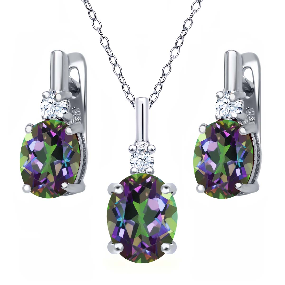 6.95 Ct Green Mystic Topaz White Created Sapphire 925 Silver Pendant Earrings Set by