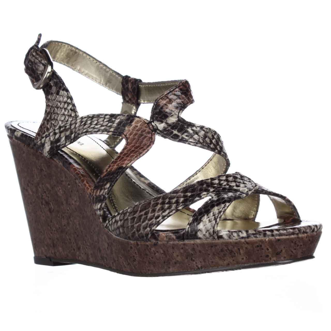 Womens S.C. Allyssa Strappy Wedge Sandals - Camel Python