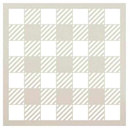 """Buffalo Plaid Checks Pattern Stencil - Choose Size (18"""" x 18"""")"""