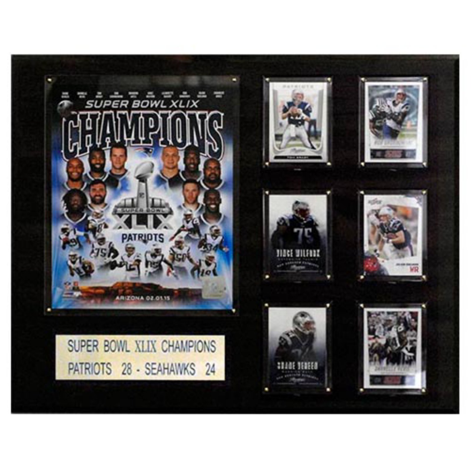 C and I Collectables NFL 20W x 16H in. New England Patriots Super Bowl XLIXI Champions Plaque