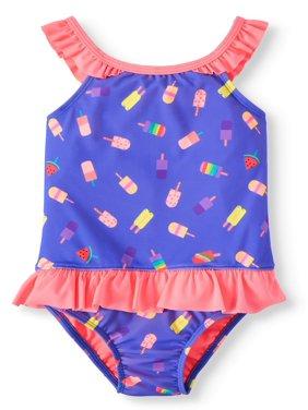 Wonder Nation Wowease Magnetic Closure Ruffle Swimsuit (Toddler Girls)