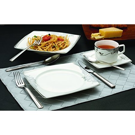 Florentine Bone China - Lorenzo 57 Piece Elegant Bone China Service for 8 Belle Dinnerware Sets, Silver
