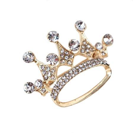 Rhinestone King Crown Brooch Pin, Gold, 1-3/4-Inch