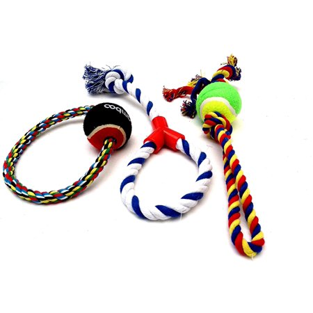 Deluxe Assorted Dog Toys Aggressive Cotton Blend Chew Tennis Ball Ropes Tug Of War Game  Sets Of 3   Large Dog Ropes  Variety B