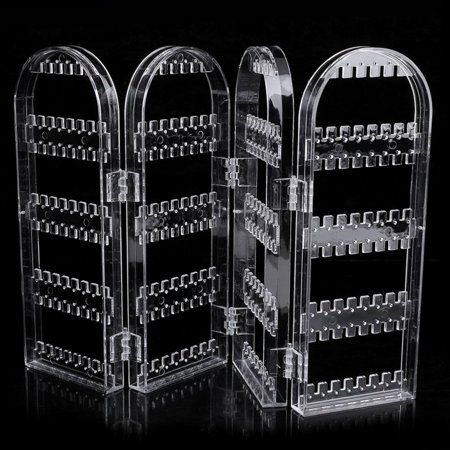 (Acrylic Collapsible Earring Necklace Jewelry Display Rack Storage Holder Clear)
