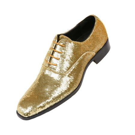 Bolano Mens Sequin Plain Toe Oxford Dress, Comfortable Lace-up Smoking Shoe