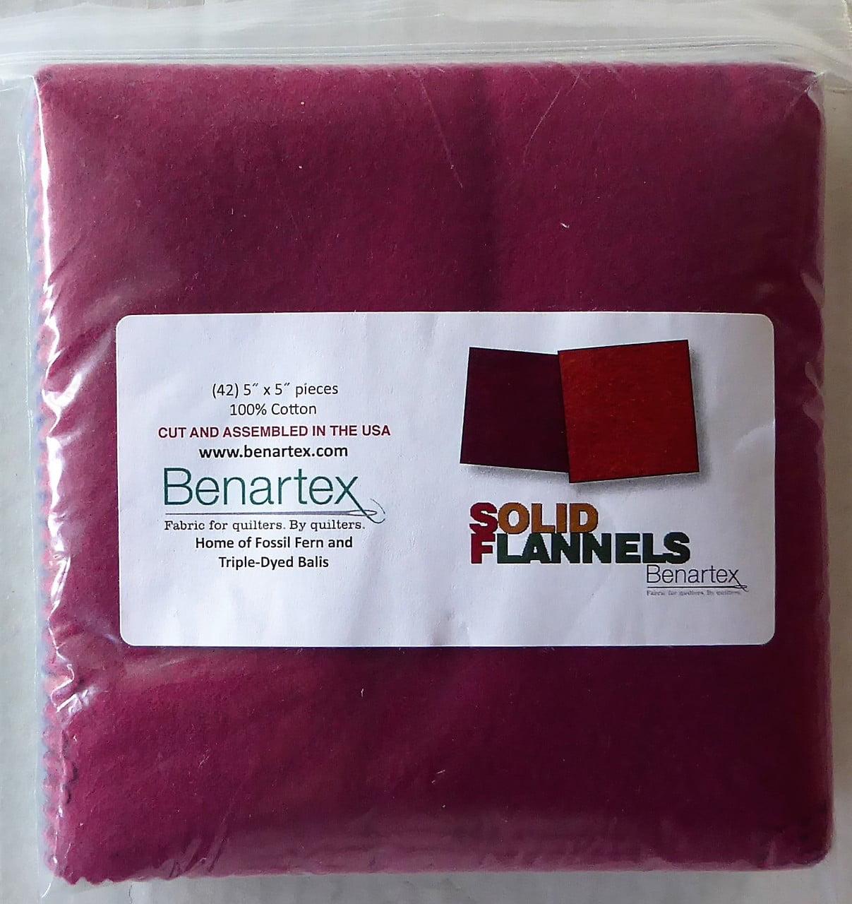 """Solid Flannels,~Multi Colors~ Charm Pack 42, 5"""" Cotton Squares -Benartex"""