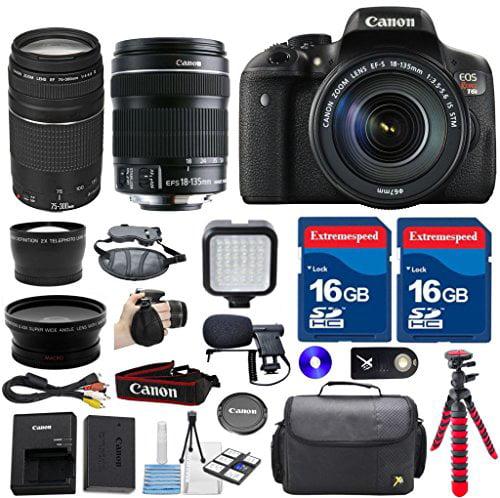 Canon T6i Digital SLR Camera with 18-135mm IS STM Lens + ...