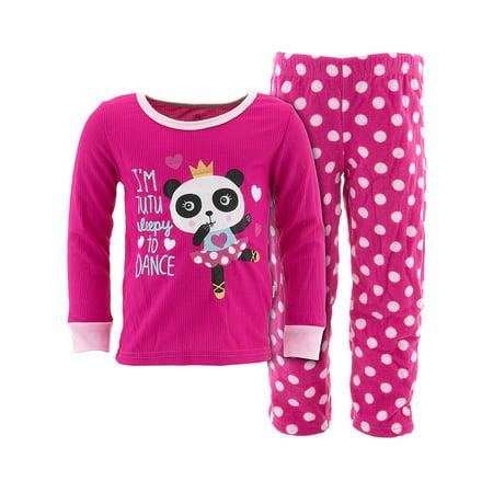 Duck Duck Goose Girls Tutu Sleepy Pink Panda - Panda Bear Pajamas