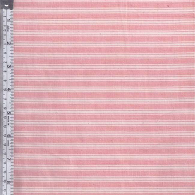 Textile Creations RW0100 Rustic Woven Fabric, Stripe Rose And White, 15 yd.