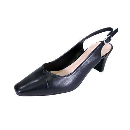 West Black Leather Slingback Pumps - Peerage Taryn Women Extra Wide Width Slingback Shoes