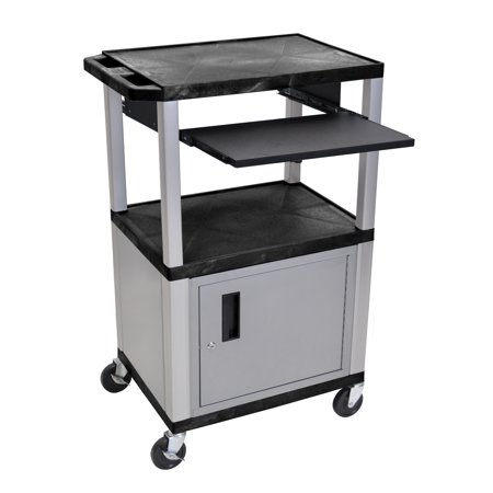 H WILSON WTPS42C4E-N 3-Shelf Cart with Black Pullout Shelf, Nickel Cabinet and Legs, Tuffy, 42