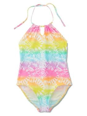 da1377f0e6 Product Image Joe Boxer Girls 1 Piece Pink & Yellow Tie Dye Bathing &  Swimming Suit