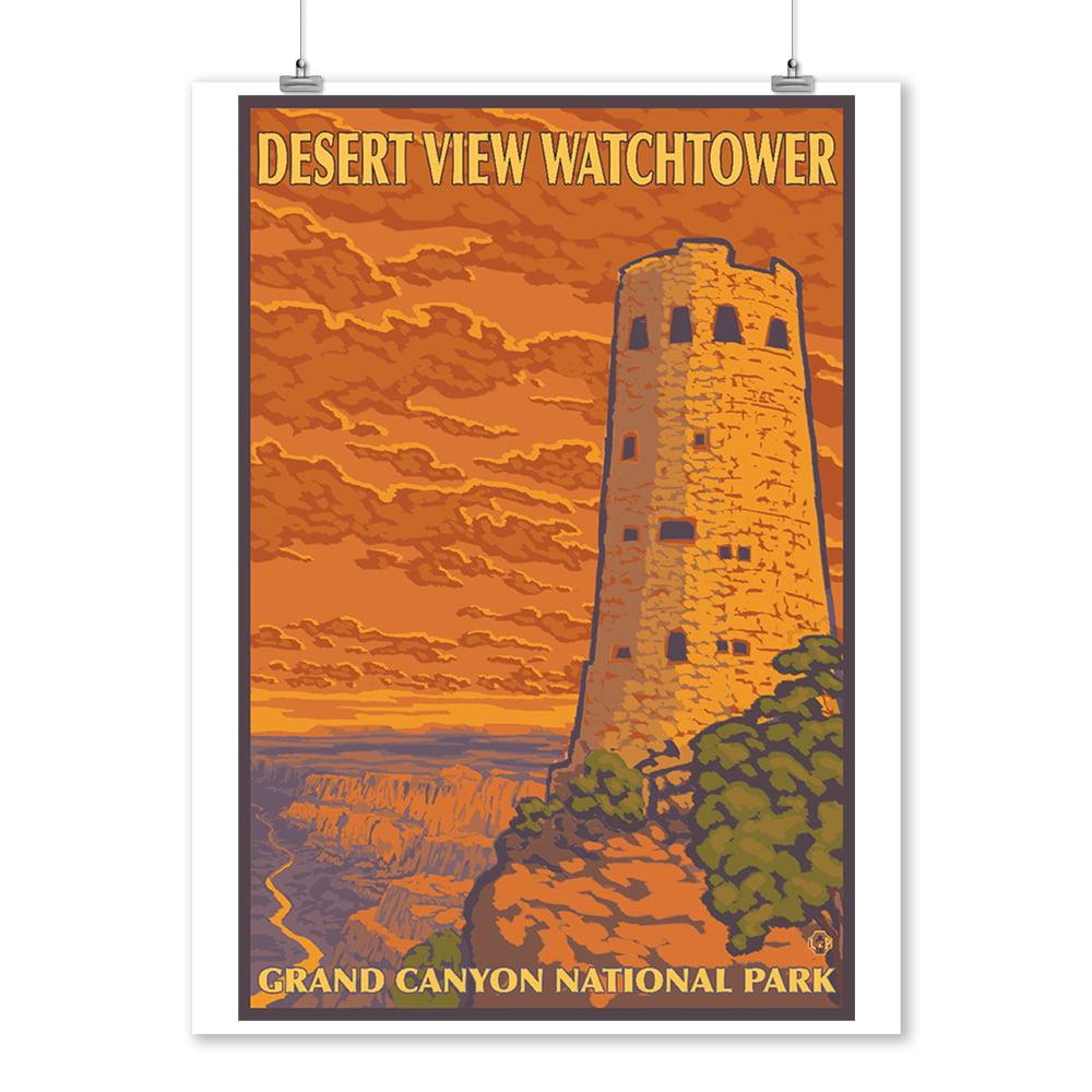Grand Canyon - Desert View Watchtower - Lantern Press Artwork (9x12 Art Print, Wall Decor Travel Poster)